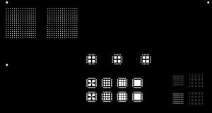 Aufbau des Testlayout mit 5 verschiedenen Aperturen für BTC-Bauteile