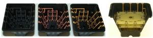 Das mit LPKF-LDS®- Technologie hergestellte Gehäuse (links) und über die Höhe verteilten Bestückungsebenen eines energieautarken Drucksensors (rechts). Quelle:  BMBF Verbundvorhaben IEKU (V3EAAS010).