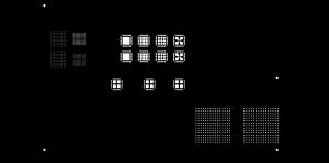 Figura 1: Montaje del diseño de prueba con cinco aperturas distintas para componentes BCT