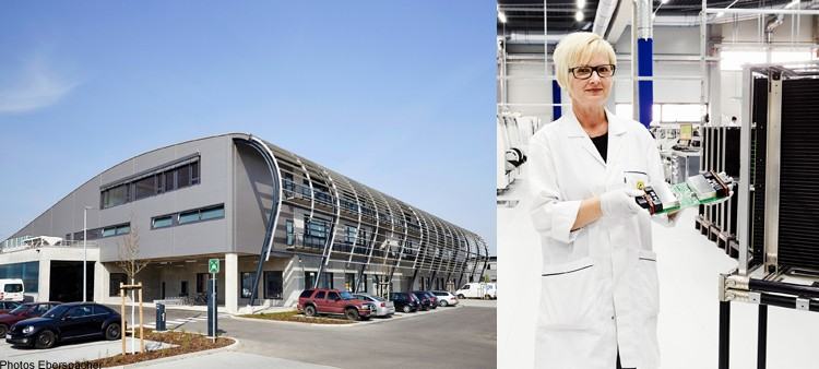 Left: Eberspächer Controls' new premises, Landau (Photo: Eberspächer); Right: Over a million DC-DC converters are produced each year by Eberspächer Controls, Landau (Photo: Eberspächer)