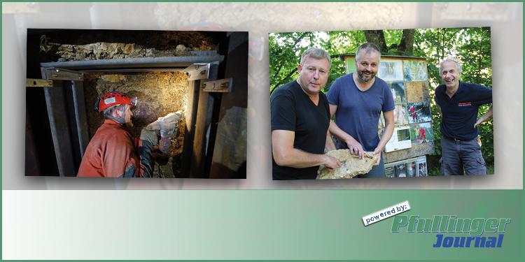 (Foto li) Fotos von den Grabungen von Andreas Schober. (Foto re) Frank Schüler, Andreas Schober und Micheal Hottinger mit einem Sinterstein, ein Hinweis für eine Höhle. (Foto: Sandra Hespeler)