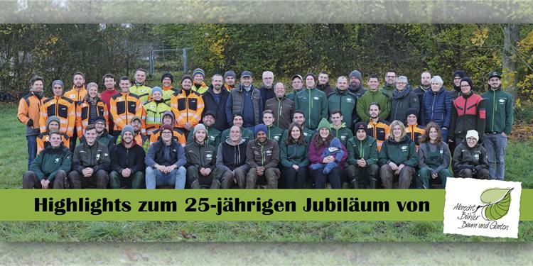 """APROS Pressearbeit zum 25-jährigen Jubiläum """"Albrecht Bühler Baum und Garten GmbH""""- eine ansehnliche Mannschaft von Spezialisten, unter anderem viele """"Eigengewächse"""", vor."""